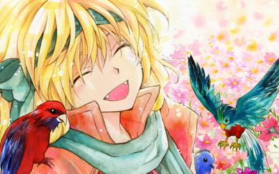鳥と戯れながら優しく微笑む暁のヨナのイラスト